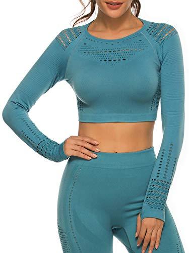Tops Yoga Camiseta Deportiva Sin Costura Mangas Larga Fitness Mujer Gimnasio #2 Azul Chica