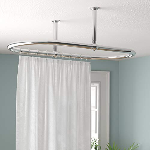 Luxury Oval Shower Curtain Rod Ceiling Mount for Clawfoot Tub, Freestanding Heavy Duty Curtain Rail in Chrome Finish - 45 x 25 Inch