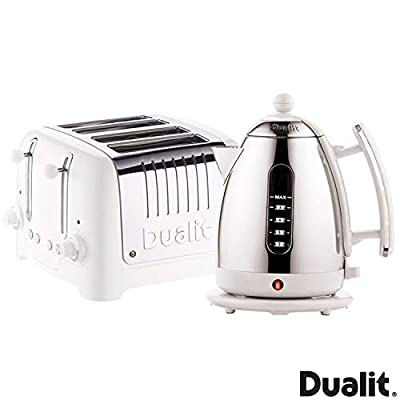 Dualit Lite Kettle & 4 Slot Toaster Set White - Fast Boiling Element in The Base of The Kettle & Peek & Pop Features Allows You to Check on Your Bread mid Toasting