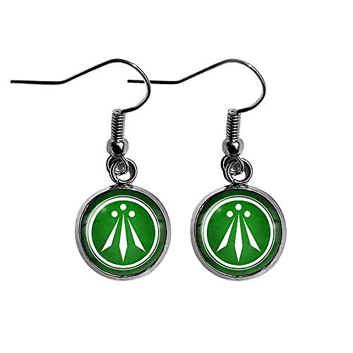 Celtic Symbol The Awen Three Rays of Light White on Green Surgical Steel Earrings