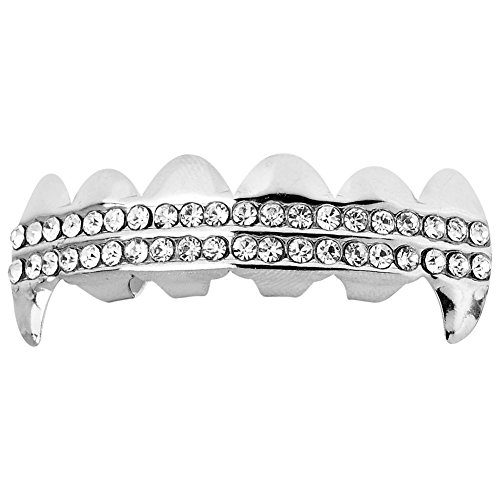 Iced Out One Size Fits All Bling Grillz - Dracula TOP - Silber