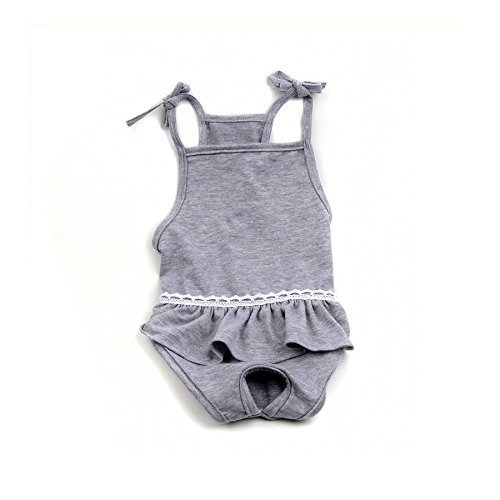 Stock Show Female Dog Diaper Dog Cute Summer Cotton Sanitary Pantie with Suspender Bathing Dress Jumpsuits Suspenders for Girl Dogs Puppy, Grey, XL