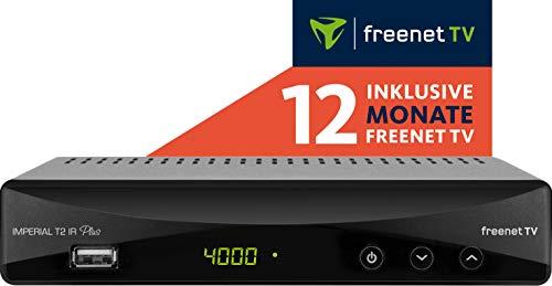 Digitalbox Imperial T2 IR Plus DVB-T2 HD Receiver mit Irdeto Entschlüsselung (inkl. 12 Monate Freenet TV, H.265/HEVC, PVR Ready, HDMI, Scart, USB, LAN) schwarz, 77-560-00-12