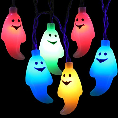 Cadena Luces Halloween, BrizLabs 30 LED Fantasma Cadena de Luces a Batería 3D Interiores Guirnalda de Luces Halloween Decoración Fiestas Boda Casa Niños Cosplay DIY, Multicolor