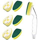 Non Scratch Dishwand, Heavy Duty Dish Wand Pack (1 Handle and 6 Refills Replacement Sponge Heads) Soap Dispenser Scrubber, Dishwashing Brushes for Kitchen Sink Pan Non Stick Dishwasher Cleaning Tools