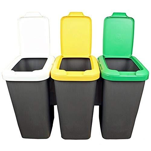 Productos Del Hogar Ideal para Hogar/Oficina/Interior/Exterior Set 2 Papeleras Reciclaje 3 Compartimentos, 75 litros c/u, 78,5 (Ancho) x 33 (Profundo) x 47,5 (Alto) cms (x2) -plástico-Multicolor