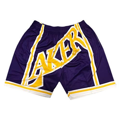 XXJJ Pantalones cortos de baloncesto Laker con parte delantera plana, estilo retro, con bolsillos clásicos (S ~ XXL), transpirables y de secado rápido, F-M