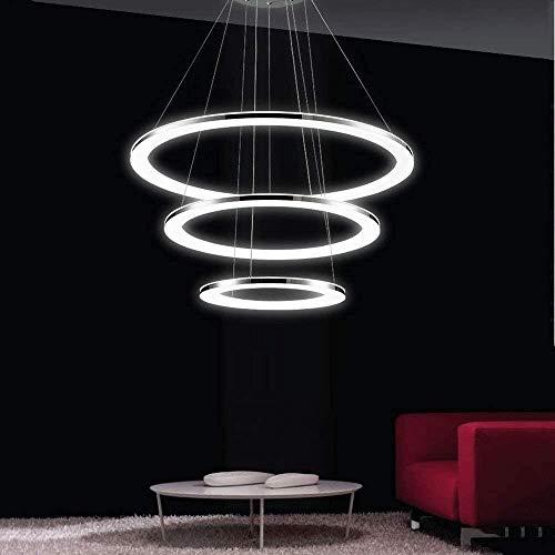 xxw Lámpara de techo LED de 60 W moderna iluminación de techo a isla lámpara de interior de 3 anillas, diseño lámpara de mesa de comedor lámpara de techo regulable (70 + 50 + 30 cm)
