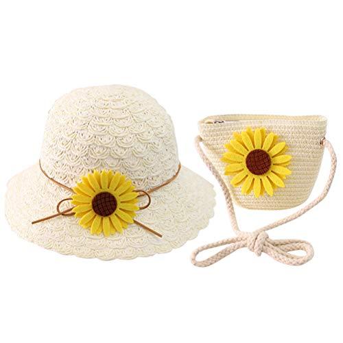 Borsa Estiva per Bambini Cappello in Paglia e Borsa in Paglia Cappello per ombrellone Protezione Solare Portatile Protezione UV Borsa da Spiaggia in Tessuto