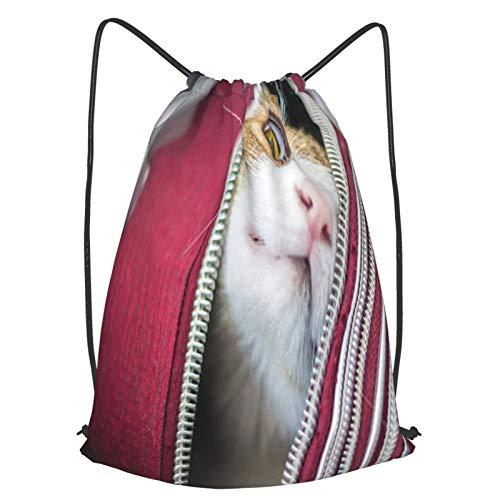 AndrewTop Bolsa Cuerdas con cordón impermeable Unisex,gato en una maleta,LigeroCasual ,Deporte Gimnasio Mochilas