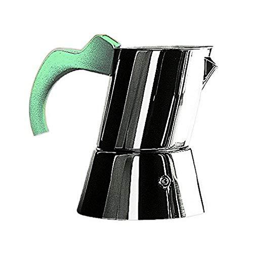 MEPRA Angelo Mangiarotti Caffettiera Espresso, 4/6 Tazze, Acciaio Inossidabile 18/10, Acquamarina