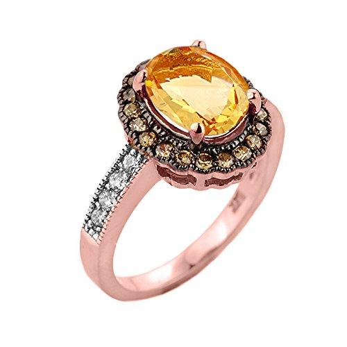 Pequeños Tesoros - Anillos Damas Alianza De Boda 10 KT Oro Rosa 471/1000 Citrine con Diamante