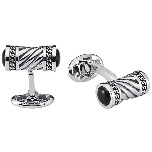 Vinani Design Manschettenknöpfe Onyx Verzierung Muster geschwärzt glänzend 925 Sterling Silber Herren Anzug Hemd 2MAK