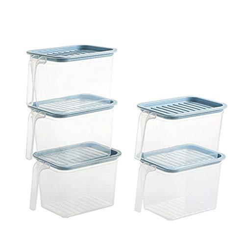 SMX set met 5 gums, opbergdozen – koelkast en vriezer met deksel – grote kunststof dozen voor de bereiding van levensmiddelen, eetkamers en eetkamers