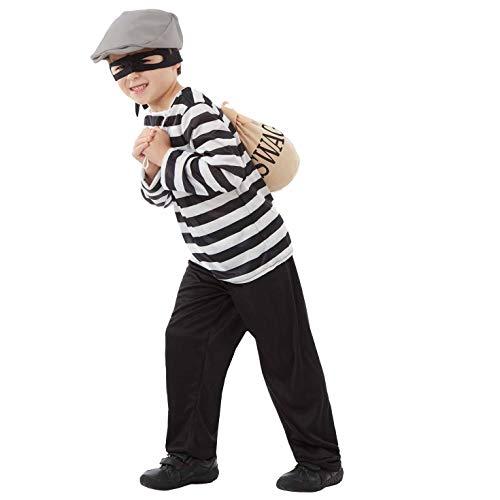 Fun Shack Schwarzes Räuber Kostüm Einbrecher Verkleidung für Jungen und Mädchen - L