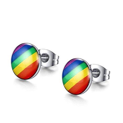 N-K PULABO - Pendientes de bola multicolor de acero inoxidable para hombres y mujeres