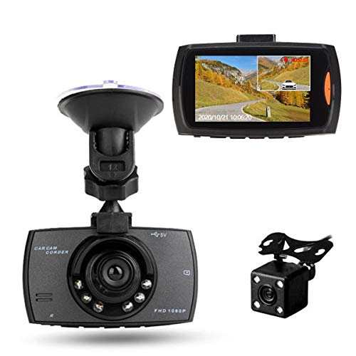 RBNANA Full HD 1080P Dashcam für Auto, 170° Weitwinkel, Dashcam vorne und hinten, mit Nachtsicht, Dashboard-Kamera, G-Sensor, Bewegungserkennung, Loop-Aufnahme