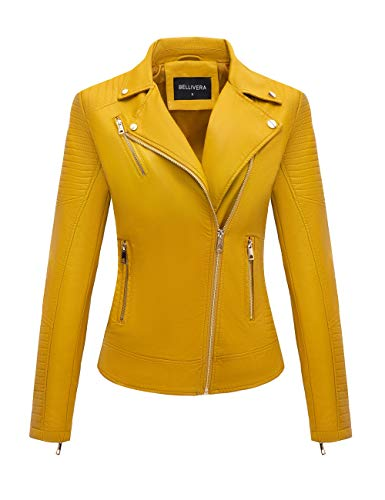Bellivera Frauen Kurz Jacke aus Kunstleder Jacke,Motorrad Jacke