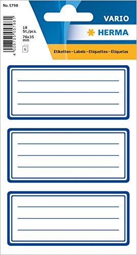 HERMA 5798 Buchetiketten, blauer Rand, selbstklebende neutrale Heftetiketten aus Papier für die Schule für Kinder, Mädchen und Jungen, 18 Schuletiketten