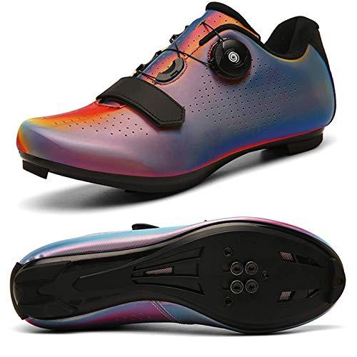 Zapatillas De Ciclismo para Hombres Y Mujeres, Zapatillas De Bicicleta Ultraligeras Y Cómodas con Cierre Automático para Exteriores, Zapatillas De Bicicleta Transpirables con Visión Nocturna Colorida