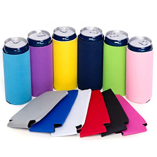 12 Pcs Slim Can Coolers, 12 oz Plain Bulk Collapsible Soda Cover Coolies, DIY Personalized Sublimation Sleeves for Weddings, Bachelorette Parties