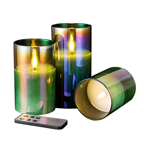 Eywamage Green Glass Flameless Flickering Candles with Remote, Battery LED Pillar Candles Set of 3, Electric Fake Candles, D 3' H 4' 5' 6'