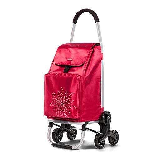 WEIZI Red aluminum alloy folding portable shopping cart six 45 * 44 * 100cm