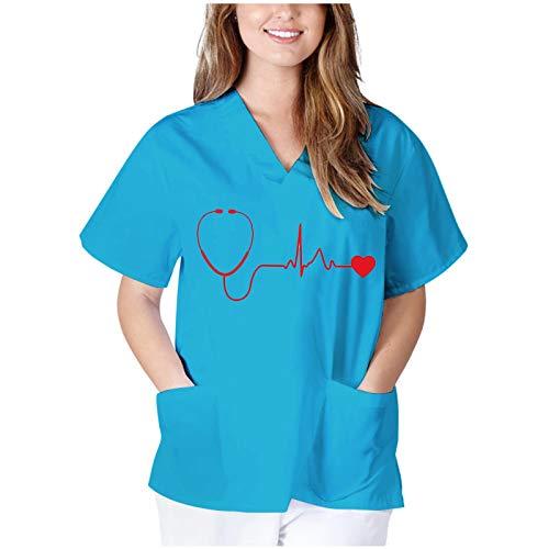 Briskorry Casaca de mujer para cuidado de mujer, diseo informal, impresin de manga corta, ropa de hospital, ropa de trabajo, uniforme de enfermera, uniforme, camiseta, azul claro, M