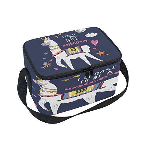 Domoko Dessin animé Lama d'alpaga Licorne Sac à déjeuner Isotherme Sac fourre-Tout Cooler Lunch Box pour Pique-Nique d'école Femme Homme Enfants
