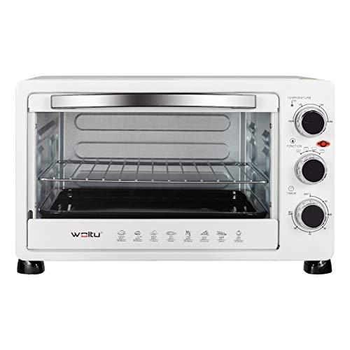WOLTU BF11ws Mini Backofen 25 Liter, 1400 Watt Toasterofen | Pizzaofen | Krümelblech mit Timer Minibackofen für Pizza, Toast, Truthahn, Hot Dogs Weiß