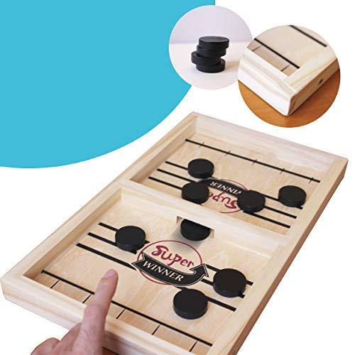 Brettspiel aus Holz für Kinder air Hockey Table tragbar mit Stücken Bouncing Games interaktive Spielzeug Gewinner Funny Fast Sling Puck Family Game Speed Hockey Table Desktop Battle Activity Board