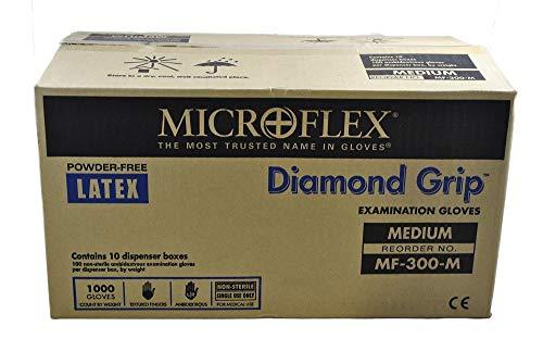 Microflex MF-300-M Diamond Grip Exam Gloves, PF Latex, Textured Fingers, Medium, 100 per Box, 10 Box per Case (Pack of 1000)