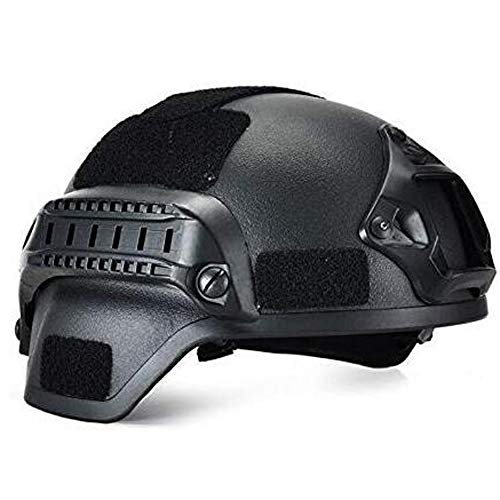 Militärhelm, Airsoft Gear Paintball Kopfschutz mit Nachtsicht Sport Kamera Halterung,Schwarz