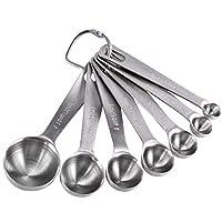 Photo Gallery bestzy measuring spoons set of 6 misurini in acciaio inox 18/8,accurate kitchen cucchiai dosatori per misurazione a secco e ingredienti liquidi