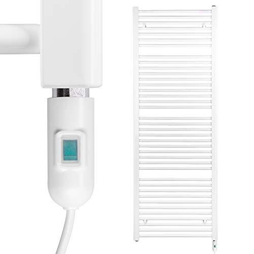 HEATSUPPLY® Badheizkörper elektrisch 1.662 x 600mm Handtuchheizkörper 900 Watt Handtuchtrockner weiß inkl. Heizstab mit Ein- und Ausschalter