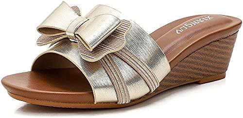 Cuñas Sandalias Femenino Pescado Boca Open Toe Plataforma de Moda Sandalias High Heel Beach Shoes 36-42-41_Oro