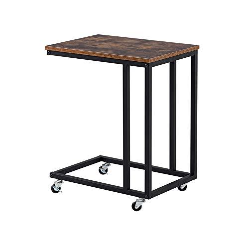 KAISIMYS Mesa auxiliar, pequeña mesa de sofá en forma de C, con marco de acero y ruedas, para el hogar, dormitorio, sala de estar, ahorra espacio.