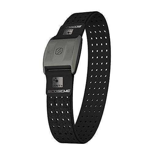 Scosche - Rhythm+ Pulse Monitor Armband mit Bluetooth-Funktion I Herzfrequenzmessung I Sportarmband I Fitness Gadget I Wasserdicht & Schweißfest I Elegantes Design I für iOS & Android - Schwarz