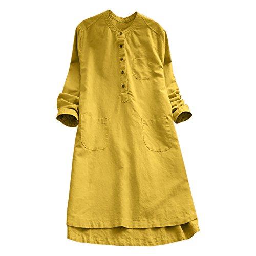VEMOW Heißer Elegante Damen Frauen Retro Langarm Casual Lose Täglichen Party Tunika Taste Tops Bluse Mini Shirt Kleid(Y1-Gelb, 46 DE / 2XL CN)