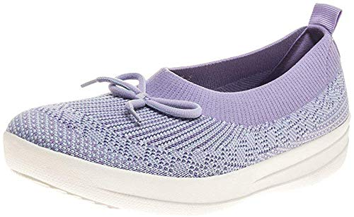 FitFlop Uberknit Slip-on Ballerina with Bow, Zapatillas Bajas para Mujer, Morado (Frosted Lavender Mix 669), 37.5 EU