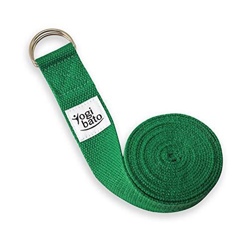 Yogibato Yogagurt 100% Baumwolle |240 x 3,8 cm | Band zur besseren Dehnung – Cotton Strap – Yogaband mit Verschluss aus Metall – Yoga Gurt Grün