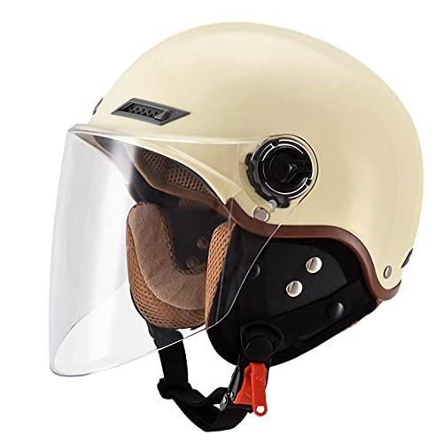 Casco vintage para motocicleta, adulto, medio casco, para montar en carretera, para hombre y mujer, estilo crucero, con visera solar, aprobado por DOT/ECE