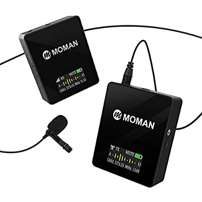 Wireless Lavalier Microphone, Clip-on Lapel Microphone System, Transmitter and Receiver Kit, Moman Connect C1 for Camcorders DSLR Camera Smartphone iPhone& Audio Recorder, 70M, 36 Channels