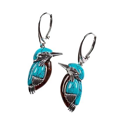 Ganghuo Bluebird - Pendientes con diseño de animales de la naturaleza, diseño de oreja, color turquesa con anillo grande, estilo retro, decoración esmaltada para mujer, 1 x 3,5 cm