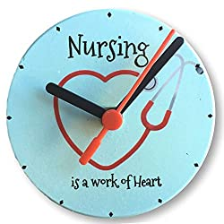 BANBERRY DESIGNS Nurse Wall or Desktop Clock - Nursing is a Work of Heart Quote - Heart Stethoscope Design - 4.25 Inches Diam