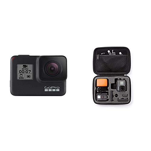 GoPro HERO7 Schwarz - wasserdichte Digitale Actionkamera mit Touchscreen, 4K-HD-Videos, 12-MP-Fotos, Livestreaming, Stabilisierung & Amazon Basics Tragetasche für GoPro Actionkameras, Gr. S