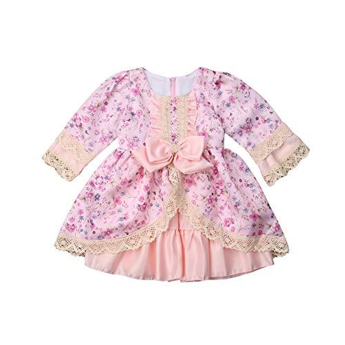 A-myt' Seguro y cómodo Princesa Recortada niños bebé niña Retro Encaje Flor Fiesta Fiesta Arco de Estilo de Estilo Palacio Europeo Lindo y Animado (Color : Pink, Size : 2T)
