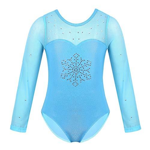 Inlzdz - Maillot de ballet para niñas pequeñas de manga larga con brillos para gimnasia, Infantil, color Empalme de tul azul claro., tamaño 7-8 años