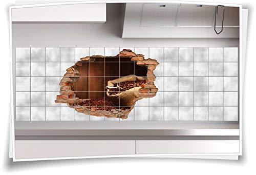 Medianlux 3D tegelafbeelding tegelstickers bonen koffie zak hout bruin aroma vers