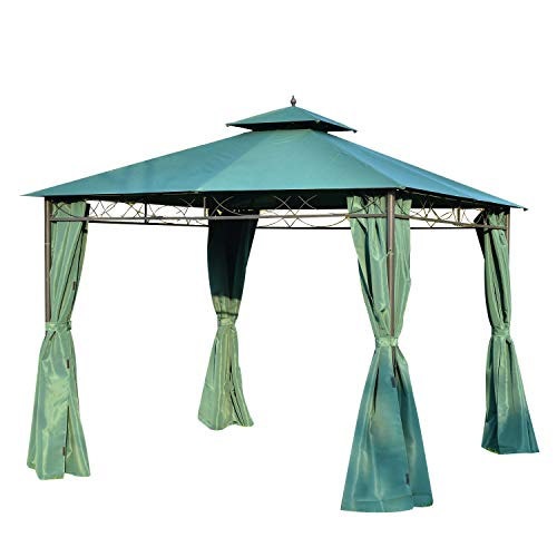 Outsunny 3(m) x 3(m) Metal Garden Gazebo Marquee Party Tent Patio Canopy Pavilion + Sidewalls - Green
